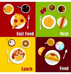 Fast food snacks desserts and drinks vector image vector image