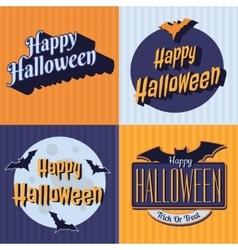 halloween retro set labels emblems vector image