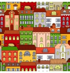 Retro seamless houses of old town streets pattern vector image vector image