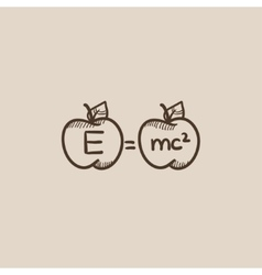Two apples with formulae sketch icon vector image vector image