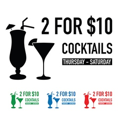 two for ten dollars deal set vector image