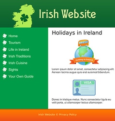 Webdesign for site about Ireland vector image vector image