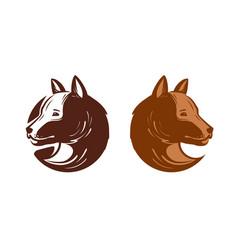 dog logo or label pet puppy animal symbol vector image vector image