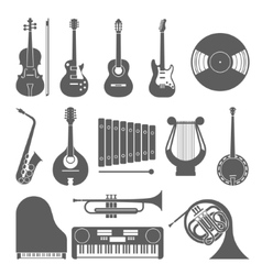 Music icon collection silhouette vector image