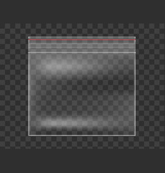 Plastic transparent bag isolated on checkered vector