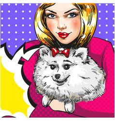 vintage pop art girl with her pet dog vector image vector image