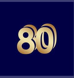 80 years anniversary celebration blue gold vector