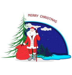 A cartoon with Santa Claus vector image