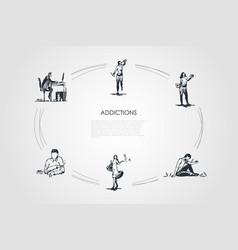 addictions - smoking alcoholism drug addiction vector image