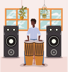 Afro man playing timpani character vector