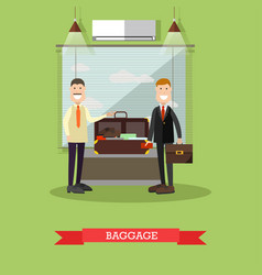 Airport baggage check in flat vector
