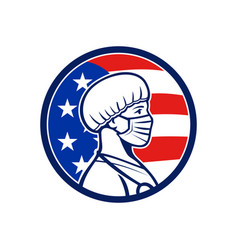 American nurse wearing mask side usa flag mascot vector