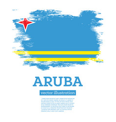 Aruba flag with brush strokes independence day vector