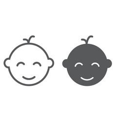 baby boy line and glyph icon baby vector image