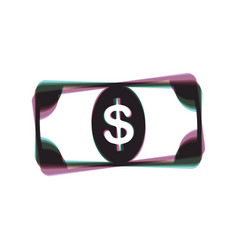 bank note dollar sign colorful icon vector image