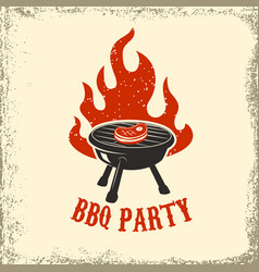 Bbq party grill with fire on grunge background vector