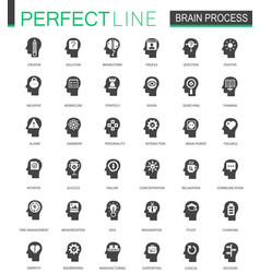 Black classic brain mind process icons set vector