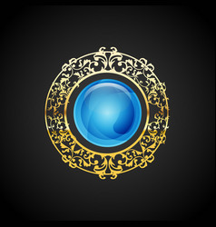 blue emerald luxury jewelry emblem design vector image