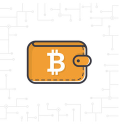 brown bitcoin wallet with coin on white bac vector image