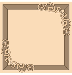 Brown decorative ornate frame vector image