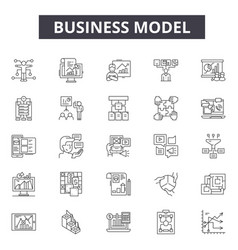 business model line icons for web and mobile vector image