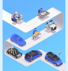 Car designer isometric concept vector