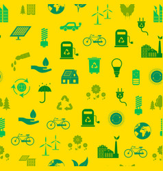 cartoon ecology signs seamless pattern background vector image