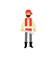 cartoon flat bearded pirate character standing vector image