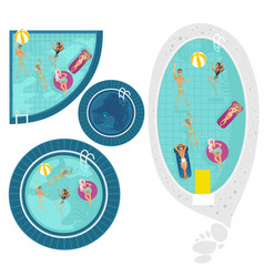 cartoon people in swimming pool blue set vector image