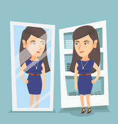 caucasian woman trying on dress in dressing room vector image
