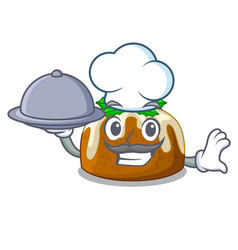 Chef with food christmas pudding on dinning table vector
