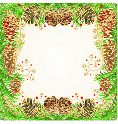 Christmas and new year frame with pine cones vector