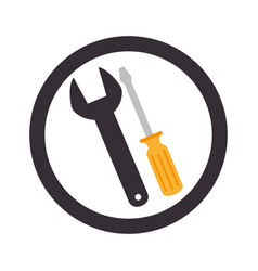 circular emblem with wrench and screwdriver vector image