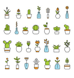 Collection of home flowers vector