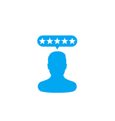 Customer review rating icon on white vector