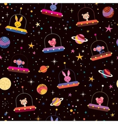 cute animals in space kids pattern vector image