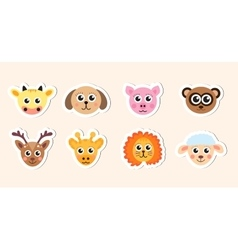Cute baby animal head stickers vector