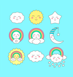 cute sky characters vector image