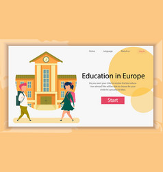 Education in europe banner kids going to school vector