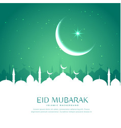 Eid greeting background with mosque silhouette in vector