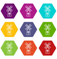 farm windmill icons set 9 vector image
