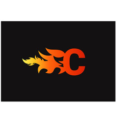 Fire c letter logo and icon design template vector