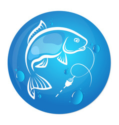 Fish and water drop design for fishing vector