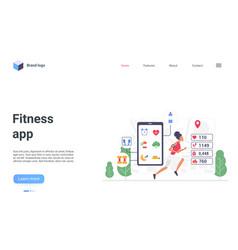 fitness app smart technology landing page jogging vector image