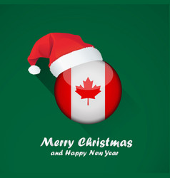 Flag of canada merry christmas and happy new year vector