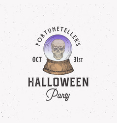 fortune teller party vintage style halloween logo vector image