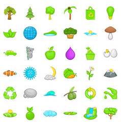 Green earth icons set cartoon style vector
