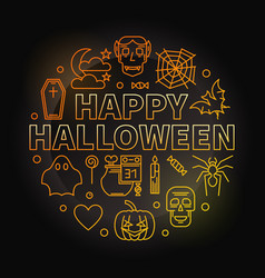 happy halloween round colorful outline vector image