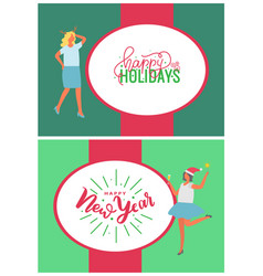 happy holidays and new year party people vector image