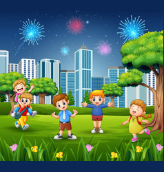 happy school children on the city park with firewo vector image